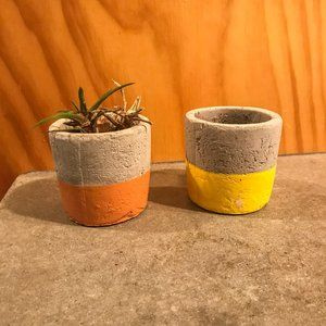 Two Mini Cement Minimal Succulent Planters Pots